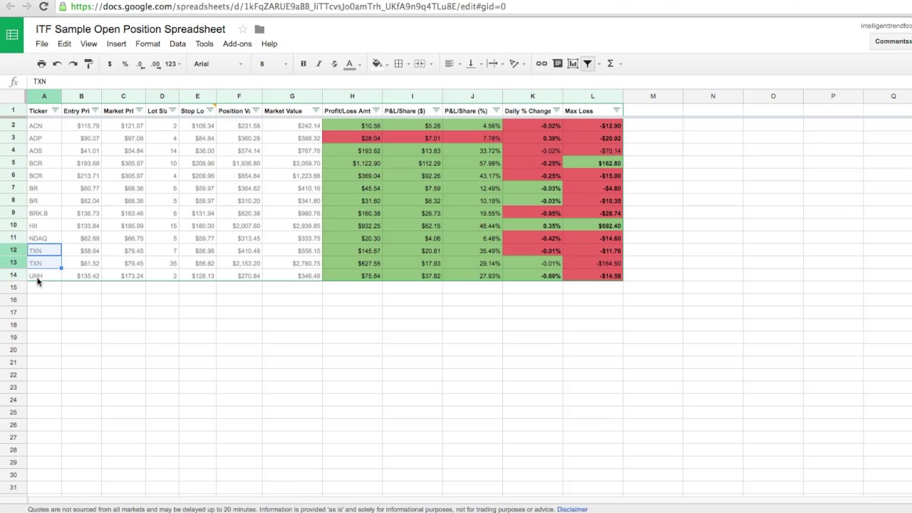 how to track your stock trades with google sheets free template