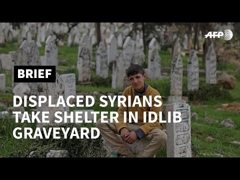 Displaced Syrian Families Take Shelter In Idlib Graveyard | AFP
