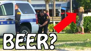 Disturbing the Beach PRANKS!! PART 3! Giant Fake Joints, Beer & Cops
