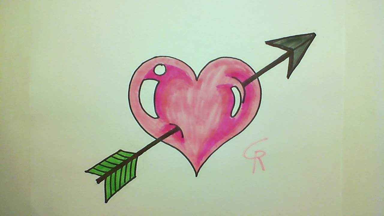 learn how to draw a cute heart with an arrow