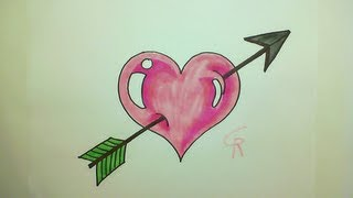 Learn How To Draw A Cute Heart with an Arrow -- iCanHazDraw!