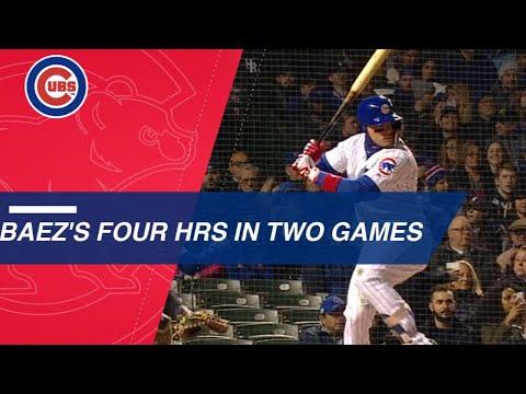 Baez belts 4 home runs over 2 games