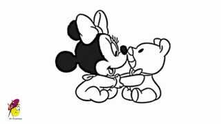 Baby Minnie mouse playing with teddy - How to draw Minnie Mouse