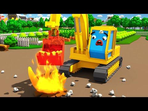 Bagger Kinderfilm - Der Gelbe Bagger POL auf dem Bauernhof - Maschinen-Team - Cartoon für Kinder