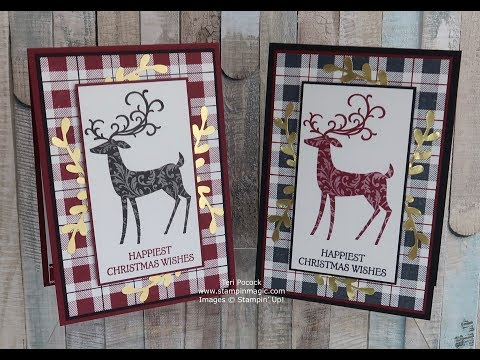 Christmas Card Using The Dashing Deer And Buffalo Check Stamp Sets From Stampin' Up!