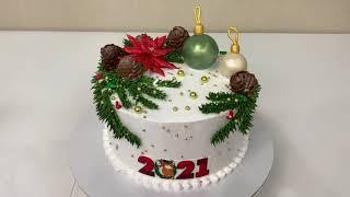 НОВОГОДНИЙ Торт с Пуансеттией ИДЕЯ Украшения Торта ТОРТ с Новогодними Игрушками Красивый торт