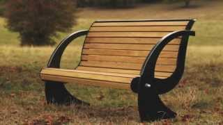 Hardwood and steel Spinnaker bench from Woodcraft UK