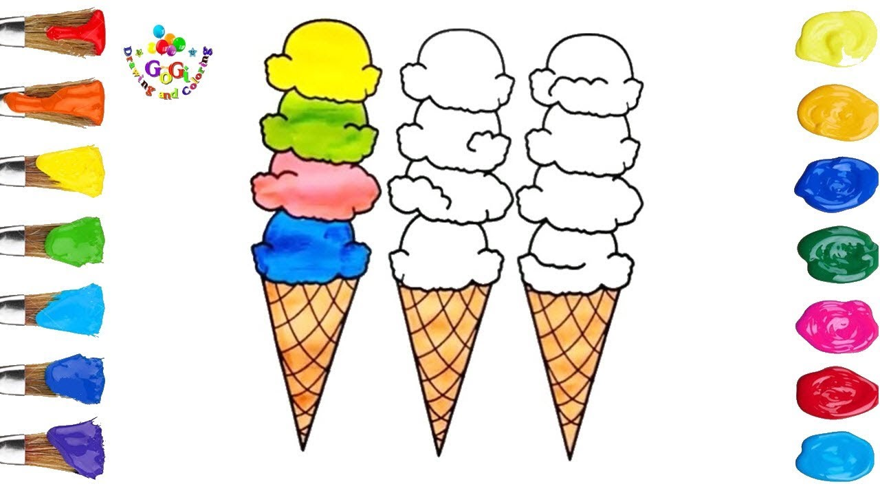 ice cream drawing and coloring pages for kids youtube