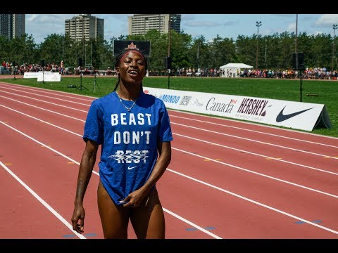 Crystal Emmanuel runs under Canadian 200m record but illegal wind