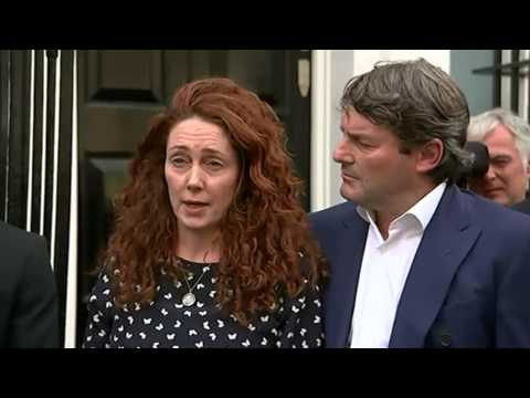 Rebekah Brooks close to tears as she faces media after trial