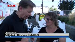 Taste testing the foods at Pueblo Chile and Frijoles Festival
