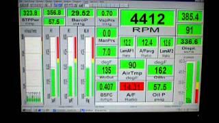 Dyno screen of 327 dyno test.16th pull