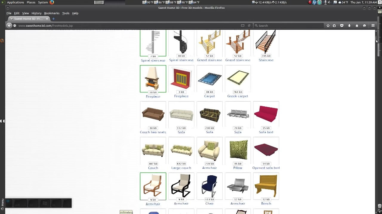 Sweet Home 3d Importing 3d Furniture Models Youtube