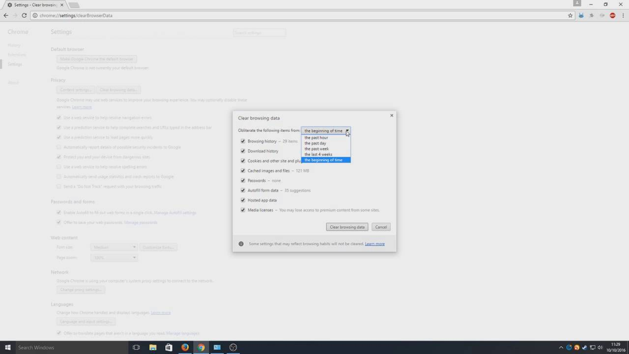 Windows10 How To Clear History, Cache, Cookies, Form Data In Google Chrome  Easy Tutorial
