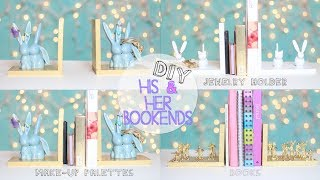 Diy Bookends - His & Her Gift Decor Organize Makeup Palette, Jewelry Holder, Dvds