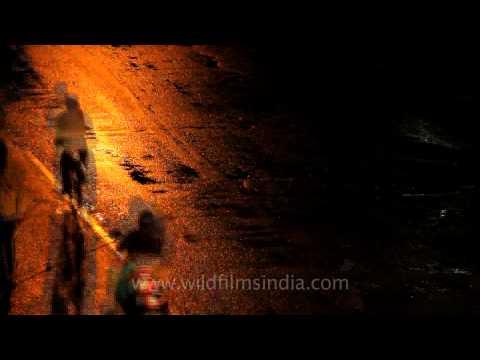 Night life of Satara in Maharashtra in forward motion