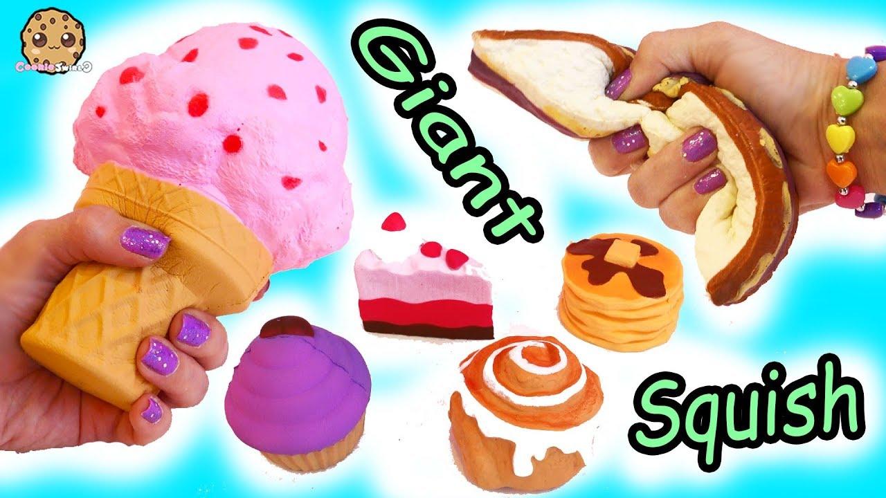 Giant Jumbo Squishy Food + Surprise Blind Bags Squish Dee Lish Shopkins Toys Haul - YouTube