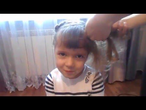 Очень модная детская прическа плетение косички в форме сердца!