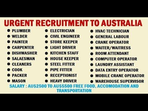 Salary 2100 - 6000 $ // Jobs in Australia 2019 // Hiring Now