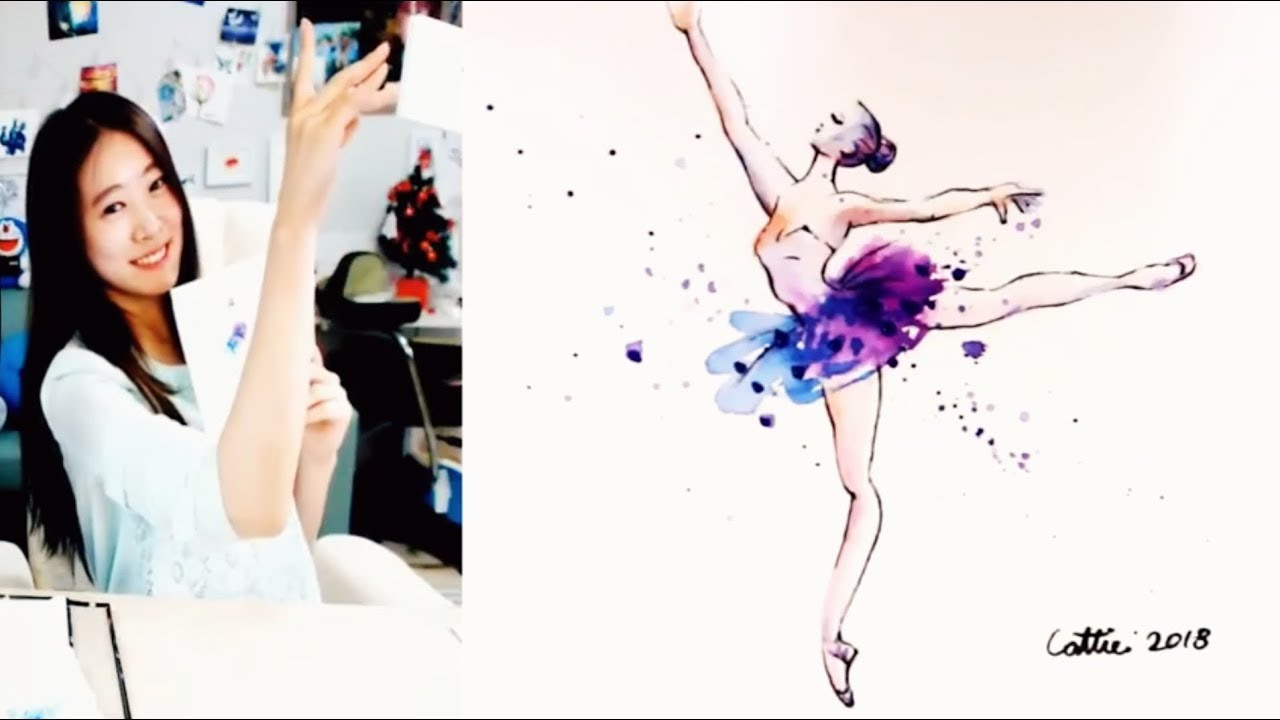 How To Draw A Ballerina Speed Watercolor Painting Demonstration Youtube