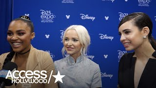 """At the 2017 d23 expo in anaheim, calif., """"descendants 2"""" stars dove cameron, china anne mcclain and sofia carson talk with accesshollywood.com about anti..."""