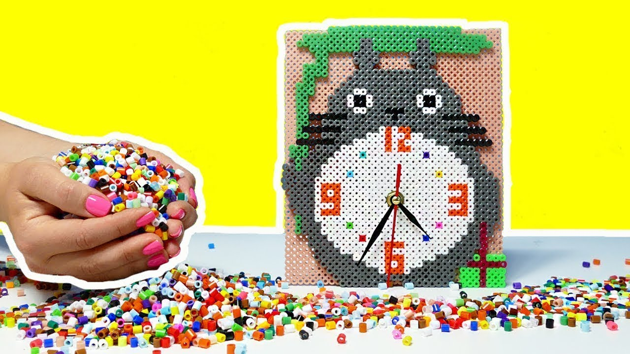 DIY TOTORO WALL CLOCK WITH THERMO MOSAIC - YouTube
