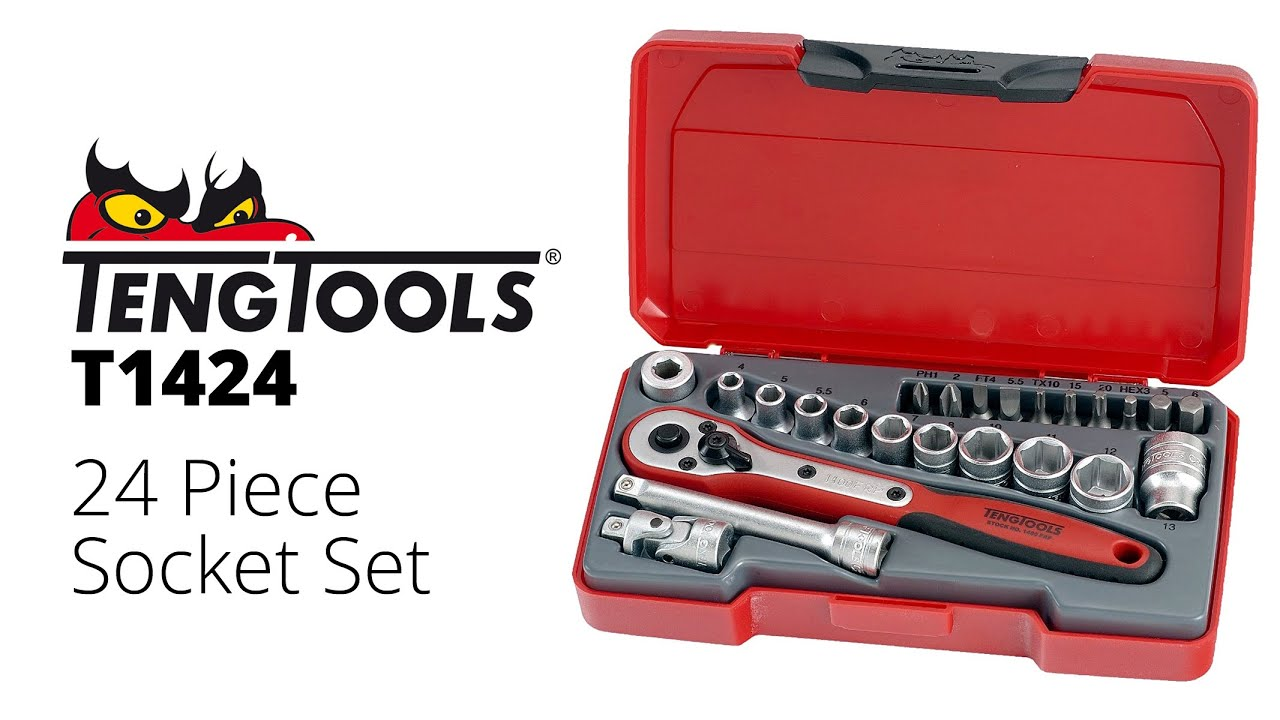 "Teng Tools T142222 Piece 1//4/"" Drive Socket Bit /& Accessory Set"