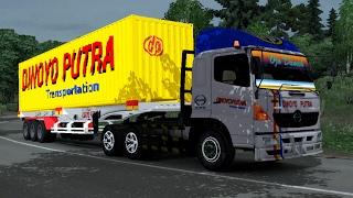 ETS 2   Hino 500 HT Trailer Logistik Dinoyo Putra 40 Ft 15 Ton Sukajaya - Sukabumi