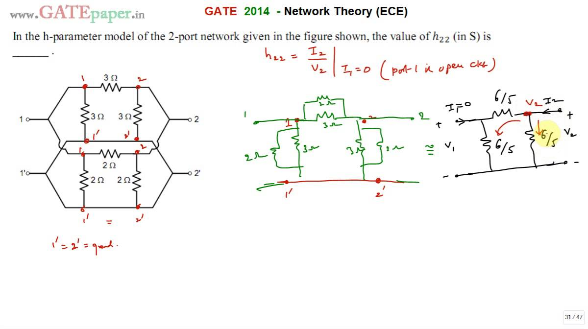gate 2014 ece find the value of h22 in the h parameter model of the rh youtube com