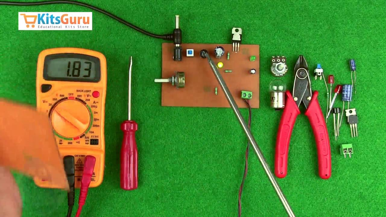Variable Power Supply Ic Lm317 By Kitsgurucom Lgkt115 Youtube Circuit