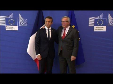 Jean-Claude Juncker meets Emmanuel Macron in Brussels