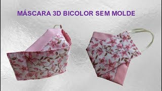 Máscara 3D Bicolor Novo Modelo Sem Molde