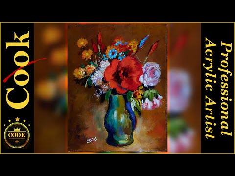 How To Paint A Red Poppy In A Green Vase Acrylic Painting Tutorial For Beginner And Advanced Artists
