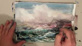 Marine paintings. Seascape with sailing ship in a storm.