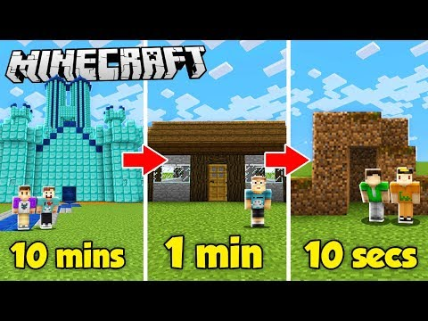 10 MINUTE vs. 1 MINUTE vs. 10 SECOND HOUSE BUILD CHALLENGE! (The Pals Minecraft)