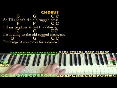 The Old Rugged Cross - Piano Cover Lesson in C with Chords/Lyrics