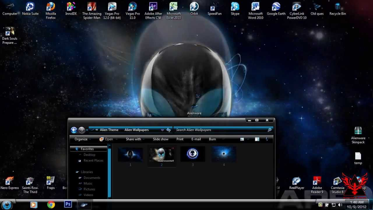 Alienware green skin theme for windows 7/8/10 transformation.