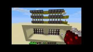 "REDSTONE TUTORIAL: Compact Piston rising door ""Portcullis"" (3 blocks high) [1.5.2]