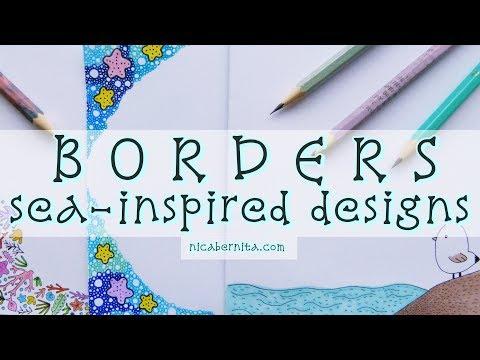 FRAMES & BORDER DESIGNS ON PAPER 🌊  PROJECT FILE DECORATION IDEAS 🌴OCEAN DOODLE ART (Crafty Nica)