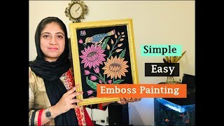 Embossed painting on cloth | Easy emboss painting