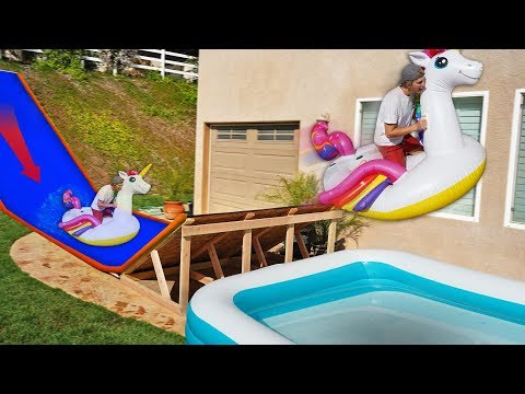 Backyard Water Slide RAMP into Pool w/ GIANT Walmart Inflatables!!
