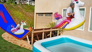 Backyard Water Slide RAMP into Pool w/ GIANT Walmart Inflatables!!
