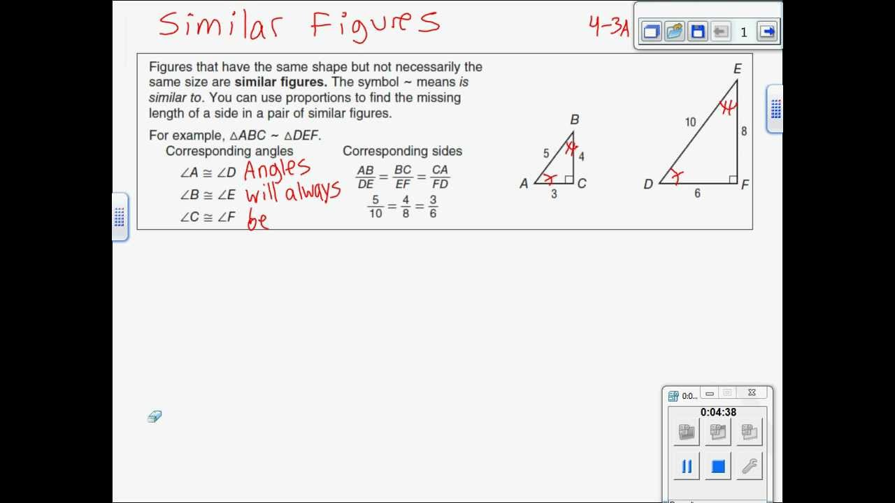 worksheet Similar Figures And Proportions Worksheets 4 3 a similar figures indirect measurement examples 7th grade math youtube