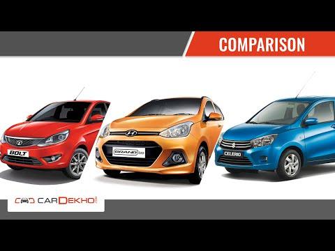Maruti Celerio Vs Hyundai Grand i10 Vs Tata Bolt | Comparison Video | CarDekho.com