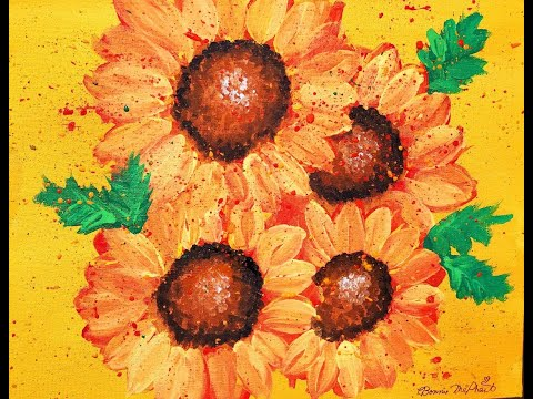 Easy Sunflowers Acrylic Painting Lesson