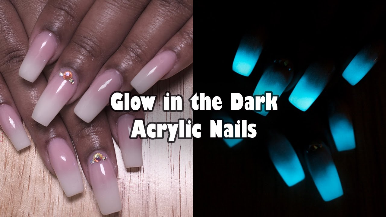 Acrylic Nails Glow in the Dark Nails - French Ombre / Baby Boomer ...