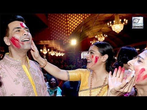 Karan Johar Participates In 'Sindur Khela' With Rani And Kajol On Last Day Of Durga Puja | LehrenTV