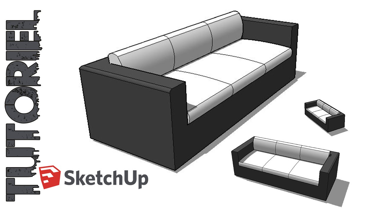 Sketchup tutoriel dessin canap 3 places youtube for 3 dimensions salon