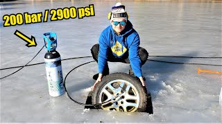 UNDER ICE Car Tire EXPLOSION! | Frozen Lake Experiment