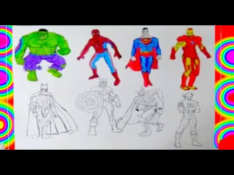 ALL SUPERHEROES Coloring PAGES 2 Superman Hulk Captain